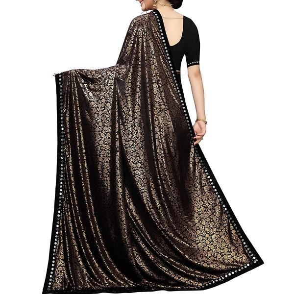 Lycra Silk Saree Designer Golden Print
