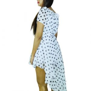 Stylish Chiffon Mini Dress Polka-dot Frock knee length