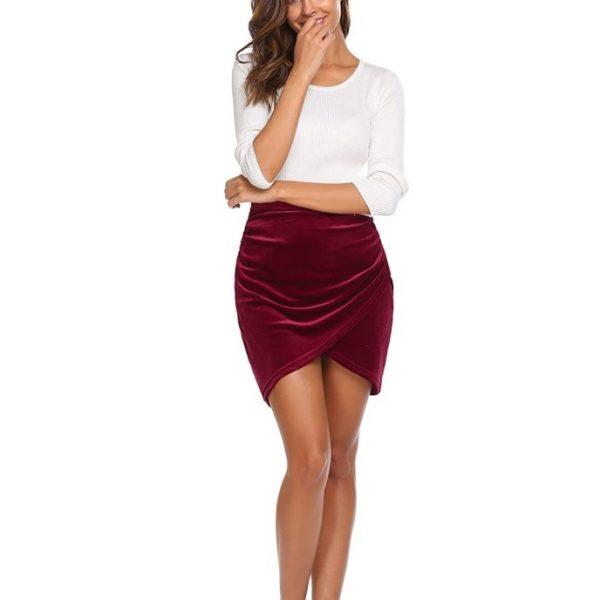 Sexy Pencil Velvet Skirt women knee length Girls Short Mini