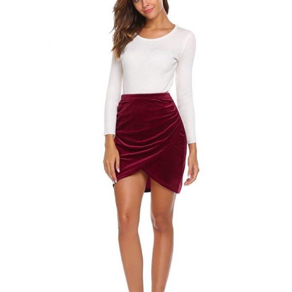 Pencil Velvet Skirt women knee length Short